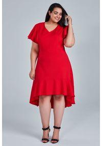 Czerwona sukienka dla puszystych Moda Size Plus Iwanek na wiosnę, elegancka