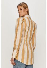 Pieces - Koszula. Okazja: na co dzień. Kolor: beżowy. Materiał: tkanina. Długość rękawa: długi rękaw. Długość: długie. Styl: casual