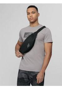 4f - T-shirt męski Wilfredo Leon x 4F. Kolor: szary. Materiał: dzianina, bawełna. Wzór: nadruk