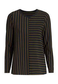 Czarny sweter Cellbes z długim rękawem, długi, w paski, casualowy