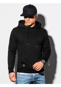 Ombre Clothing - Bluza męska z kapturem B1224 - czarna - XXL. Typ kołnierza: kaptur. Kolor: czarny. Materiał: bawełna, poliester
