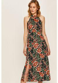 Wielokolorowa sukienka ANSWEAR z dekoltem halter, bez rękawów, midi
