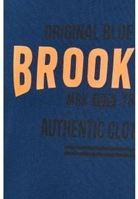 Niebieska bluza nierozpinana PRODUKT by Jack & Jones na co dzień, z nadrukiem, casualowa