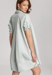 Renee - Miętowa Sukienka Brogan. Kolor: miętowy. Długość rękawa: długi rękaw. Typ sukienki: koszulowe. Styl: elegancki. Długość: mini