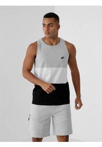 4f - Koszulka bez rękawów basic regular męska. Kolor: szary. Materiał: dzianina, bawełna. Długość rękawa: bez rękawów