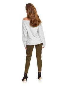 TOP SECRET - Sweter długi rękaw damski luźny. Kolor: szary. Długość rękawa: długi rękaw. Długość: długie