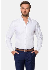 Lancerto - Koszula Biała Wendy. Kolor: biały. Materiał: bawełna, tkanina, wełna. Wzór: haft. Styl: klasyczny