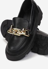 Born2be - Czarne Mokasyny Egothee. Nosek buta: okrągły. Zapięcie: bez zapięcia. Kolor: czarny. Materiał: jeans. Wzór: gładki. Obcas: na platformie