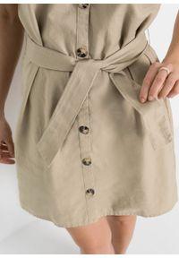 Sukienka lniana bonprix beżowy. Kolor: beżowy. Materiał: len #5