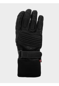 4f - Rękawice narciarskie męskie. Kolor: czarny. Materiał: skóra, materiał. Technologia: Primaloft. Sport: narciarstwo