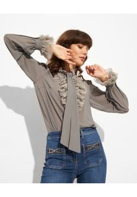 Elisabetta Franchi - ELISABETTA FRANCHI - Bluzka z marszczonymi falbanami. Typ kołnierza: kokarda, kołnierz z falbankami. Kolor: niebieski. Materiał: tiul. Długość rękawa: długi rękaw. Długość: długie