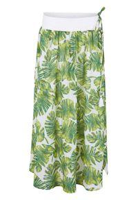 Spódnica plażowa maxi bonprix biało-zielony z roślinnym nadrukiem. Okazja: na plażę. Kolor: biały. Długość: długie. Wzór: nadruk