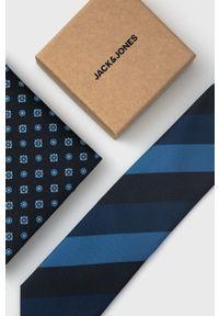 Jack & Jones - Krawat i poszetka. Kolor: czarny. Materiał: materiał, poliester