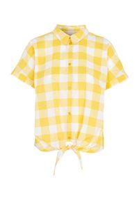 Cellbes Bluzka w kratkę z krótkim rękawem i wiązaniem żółty w kratkę female żółty/ze wzorem 58/60. Kolor: żółty. Materiał: tkanina, bawełna. Długość rękawa: krótki rękaw. Długość: krótkie. Wzór: kratka