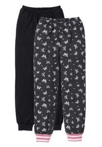 Spodnie do spania (2 pary) bonprix czarno-antracytowy melanż z nadrukiem w motyle