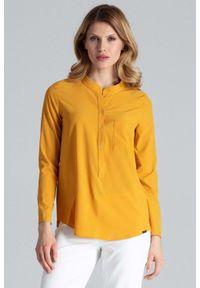 Żółta bluzka z długim rękawem Figl z koszulowym kołnierzykiem