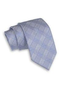 Niebiesko-Szary Męski Krawat -Chattier- 7,5cm, Klasyczny, Szeroki, Elegancki, w Kratkę, Zygzaki. Kolor: niebieski. Materiał: tkanina. Wzór: kratka. Styl: klasyczny, elegancki