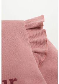 Różowa bluza Mango Kids casualowa, z aplikacjami