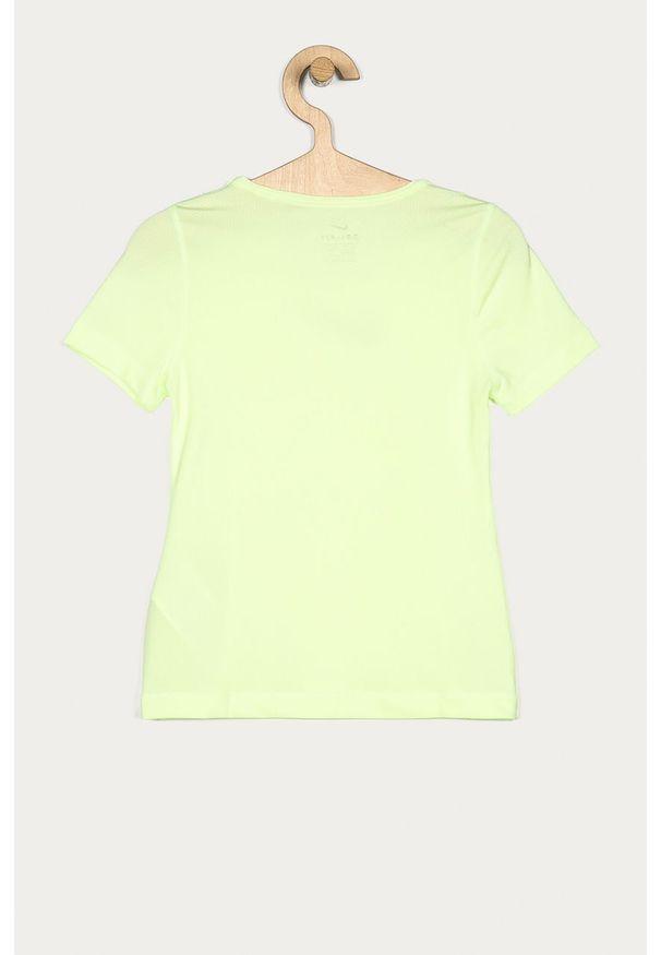 Zielona bluzka z krótkim rękawem Nike Kids casualowa, z nadrukiem