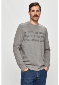 Szara koszulka z długim rękawem Calvin Klein casualowa, na co dzień, z nadrukiem