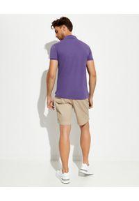 Ralph Lauren - RALPH LAUREN - Fioletowa koszulka The Earth Slim Fit. Typ kołnierza: polo. Kolor: różowy, wielokolorowy, fioletowy. Materiał: prążkowany. Długość: długie. Styl: klasyczny