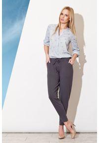 Figl - Szare Długie Spodnie z Troczkami. Kolor: szary. Materiał: wiskoza, elastan. Długość: długie