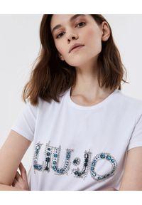 Biały t-shirt Liu Jo z aplikacjami, sportowy