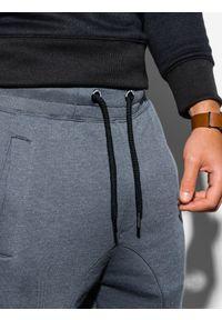 Ombre Clothing - Spodnie męskie dresowe joggery P867 - grafitowe - XXL. Kolor: szary. Materiał: dresówka