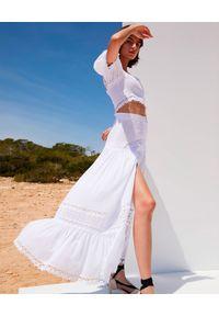 CHARO RUIZ IBIZA - Biała spódnica maxi Ann. Stan: podwyższony. Kolor: biały. Materiał: koronka, bawełna. Wzór: aplikacja