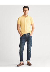 Ralph Lauren - RALPH LAUREN - Koszulka polo Slim Fit. Typ kołnierza: polo. Kolor: żółty. Materiał: materiał, bawełna, prążkowany. Wzór: haft