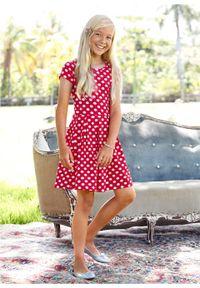 Sukienka dziewczęca shirtowa w groszki bonprix czerwono-biały w groszki. Kolor: czerwony. Wzór: grochy #5