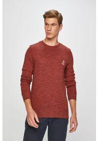 Czerwona bluza nierozpinana Jack & Jones na co dzień, z nadrukiem, z okrągłym kołnierzem, casualowa