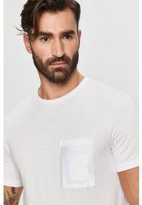 Biały t-shirt Trussardi Jeans z nadrukiem, klasyczny, na co dzień