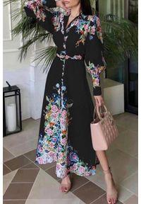 Czarna długa sukienka IVET z długim rękawem, w kwiaty, na wiosnę, elegancka