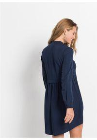Krótka sukienka szmizjerka bonprix ciemnoniebieski. Kolor: niebieski. Długość rękawa: długi rękaw. Typ sukienki: szmizjerki. Styl: elegancki. Długość: mini