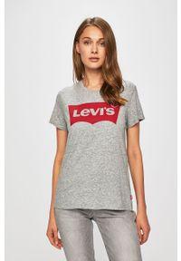 Szara bluzka Levi's® z okrągłym kołnierzem, biznesowa, na co dzień, w kolorowe wzory