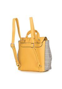 Wittchen - Damski plecak z kraciastymi bokami. Kolor: żółty. Materiał: skóra ekologiczna. Wzór: aplikacja. Styl: retro