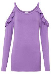 Shirt off-shoulder z przyjaznej dla środowiska wiskozy bonprix głęboki bez. Kolor: fioletowy. Materiał: wiskoza