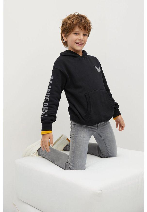 Czarna bluza Mango Kids z nadrukiem, z kapturem, na co dzień