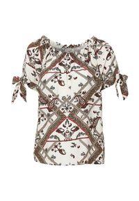Beżowa bluzka Freequent krótka, z krótkim rękawem, paisley