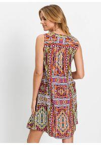 Sukienka z wiskozy bonprix khaki z nadrukiem. Kolor: biały. Materiał: wiskoza. Długość rękawa: bez rękawów. Wzór: nadruk