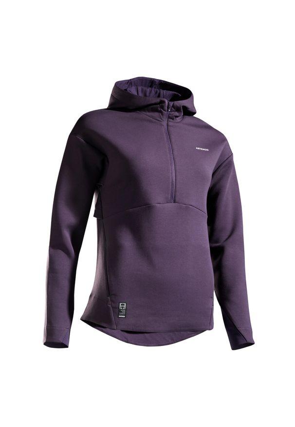 ARTENGO - Bluza tenis SW DRY 900 damska. Kolor: fioletowy. Materiał: materiał, tkanina. Sport: tenis