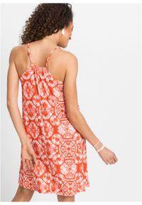 Sukienka wzorzysta bonprix pomarańczowy z nadrukiem. Kolor: pomarańczowy. Długość rękawa: na ramiączkach. Wzór: nadruk. Sezon: lato