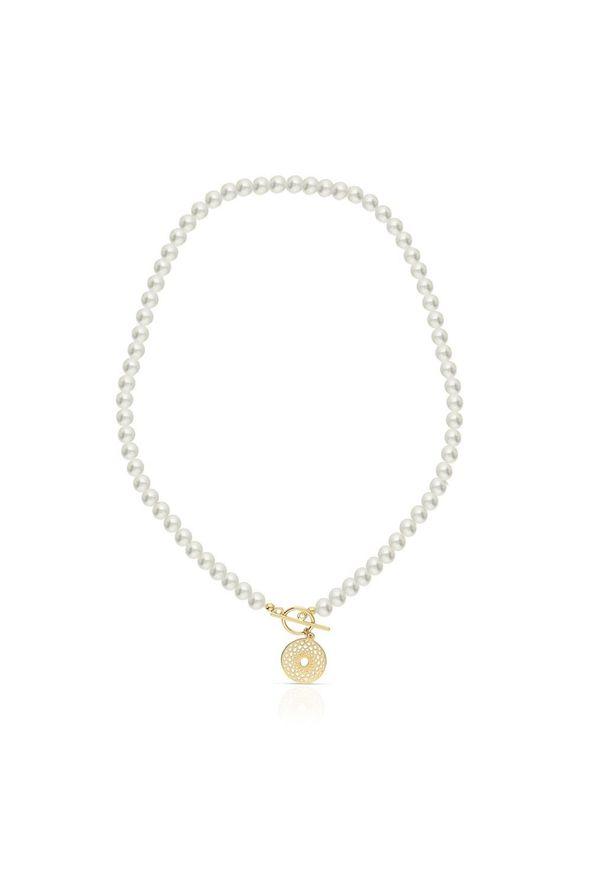 W.KRUK Naszyjnik - srebro 925, Perła - SAR/NP009Z. Materiał: srebrne. Wzór: ze splotem. Kamień szlachetny: perła