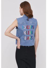 Niebieska kamizelka Calvin Klein Jeans bez rękawów, na co dzień, casualowa