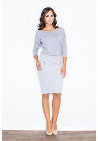 Figl - Szara Nowoczesna Sukienka z Suwakami. Kolor: szary. Materiał: elastan, bawełna