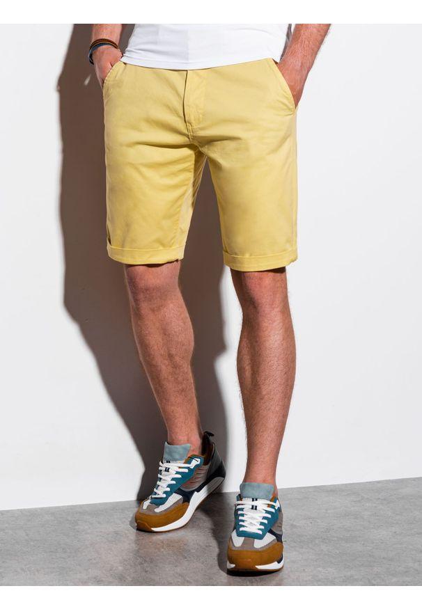 Żółte szorty Ombre Clothing na lato, krótkie, na co dzień, casualowe