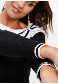 Czarny sweter bonprix długi, z kokardą, z długim rękawem