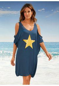 Sukienka plażowa z wycięciami bonprix ciemnoniebiesko-złoty. Okazja: na plażę. Kolor: niebieski