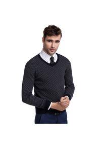Szary sweter Giacomo Conti w geometryczne wzory